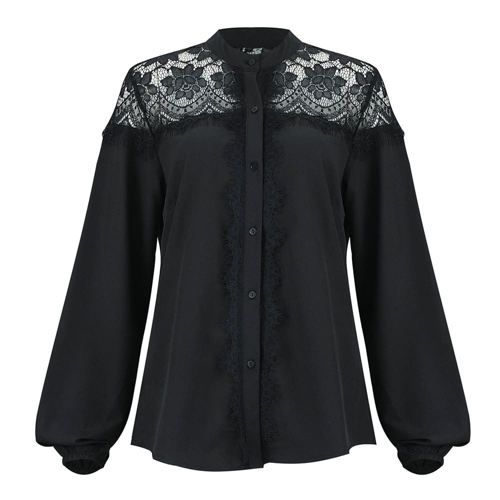 Fashion Women Blouses Tops Long Sleeve Tops Lace Floral Shirt Loose Ladies Blouses Single breasted Tops Female OL Shirts