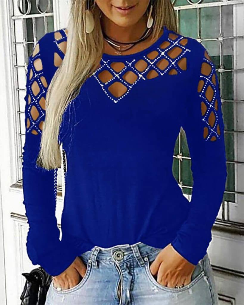Fashion Women Hollow Out Long Sleeve Casual Shirt Top Sexy Ladies O-Neck Autumn Casual Top Outwear Streetwear