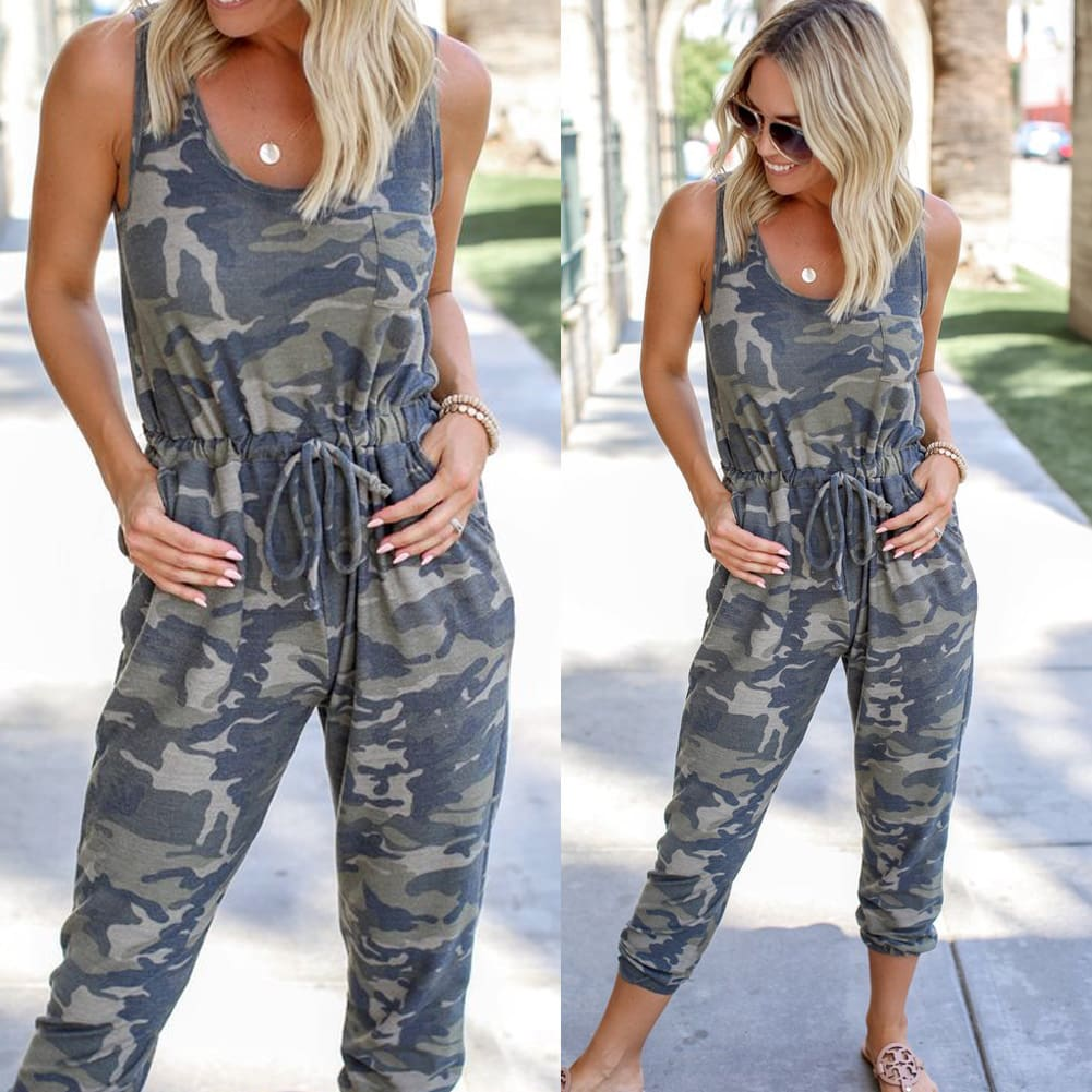 Summer Camouflage Womens Long Pant Playsuits Ladies Sleeveless Casual Romper Jumpsuit Trousers Plus Size