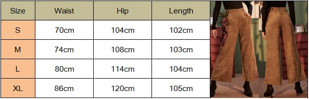 Womens Corduroy Wide-Leg Trousers High Waist Straight Loose Casual Straight Long Bell-bottom Pants