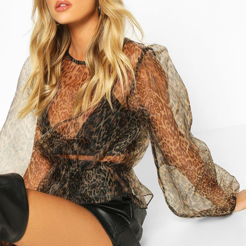 Womens Leopard Sheer Mesh Lantern Long Sleeve Shirt Tops