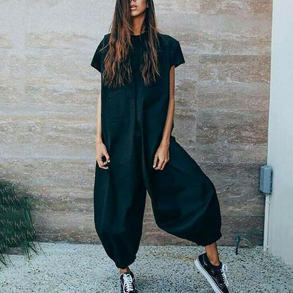Womens Casual Clubwear Summer Playsuit Loose Party Jumpsuit Romper Ladies Loose Long Pant Trouser Jumpsuits Outwear