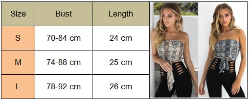 Womens Off Shoulder Snake Print Front Tie Bow Bandage Crop Top Veast Sexy Ladies Wrapped Tube Cami Top