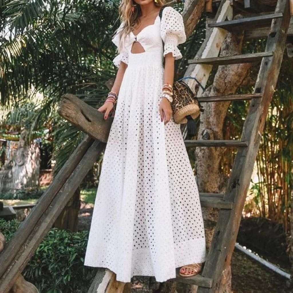 Fashion Women Hollow Out Puff Short Sleeve Long Dress Summer Ladies Maxi Swing Boho Beach Holiday Dresses Plus Size vestidos
