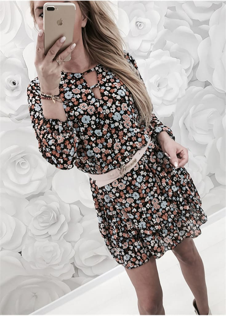 Fashion Women Autumn Long Sleeve Floral Dress Elegant V Neck Loose Ladies Dresses Dames Evening Party Club Flower Streetwear