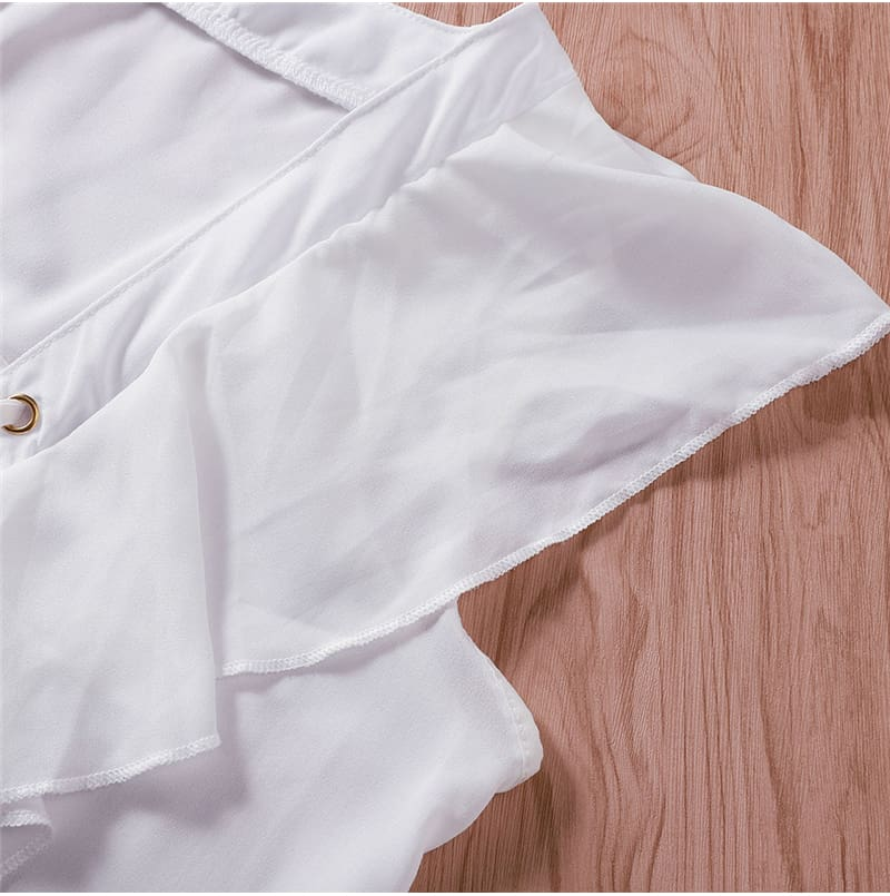Fashion Women Casual Top Ruffles V Neck Lace up Tank Bandage White Vest Elegant Ladies Casual Beach Holiday Tops Tee