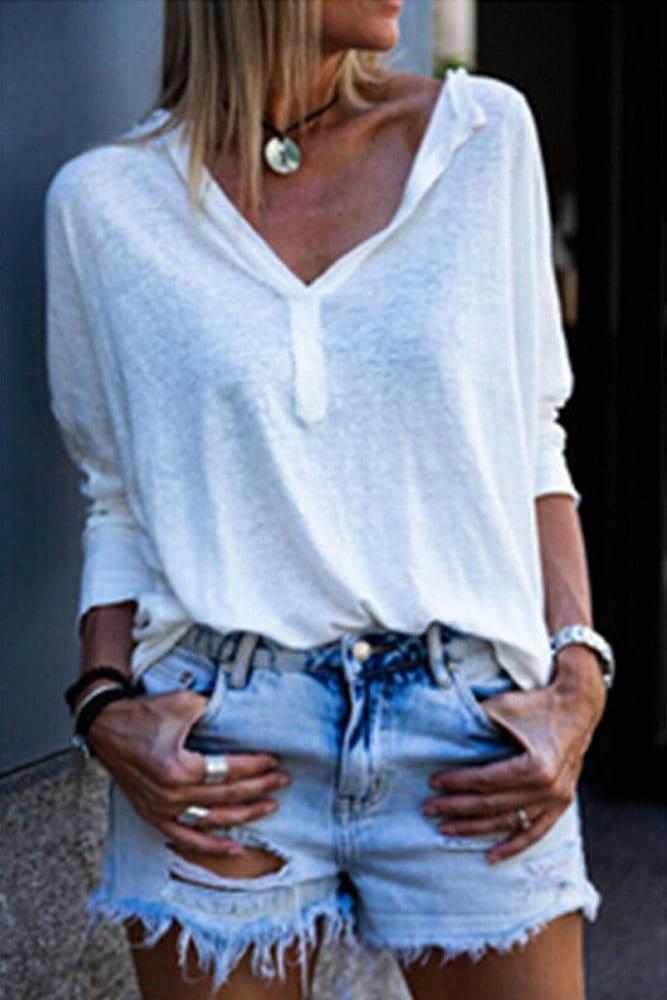 2019 New Women Cotton Button-down Collar V-neck Long Sleeve Casual Tee Shirt Autumn Loose Blouse Tops Streetwear