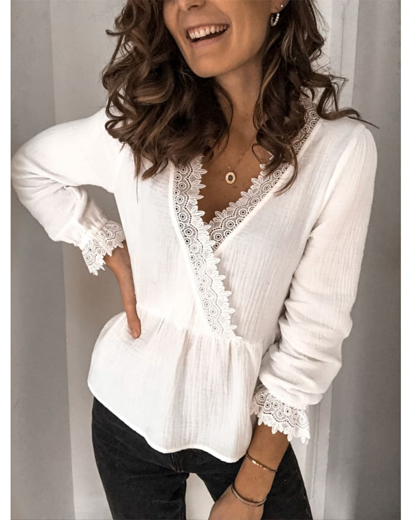 Womens Long Sleeve V-neck Tops Shirt Ladies Casual Solid Loose Basic Blouse Shirt Tee