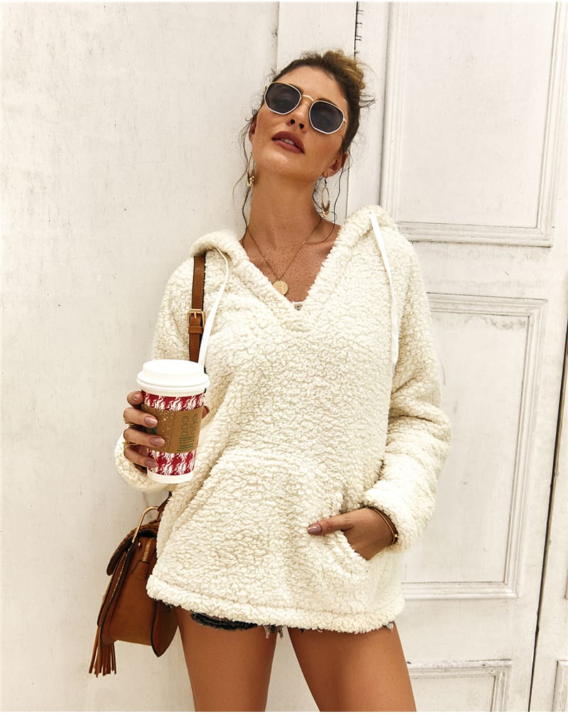 Women Ladies Warm Hooded Sweatshirt Elegant Autumn Winter Tops Long Sleeve Plain Fashion Solid Hoodies Outwear Streetwear