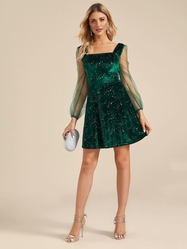 Sheer Mesh Long Puff Sleeve Velet Slim Sequin Bodycon Evening Party Dress Elegant OL Ladies Fit and Flare Dress