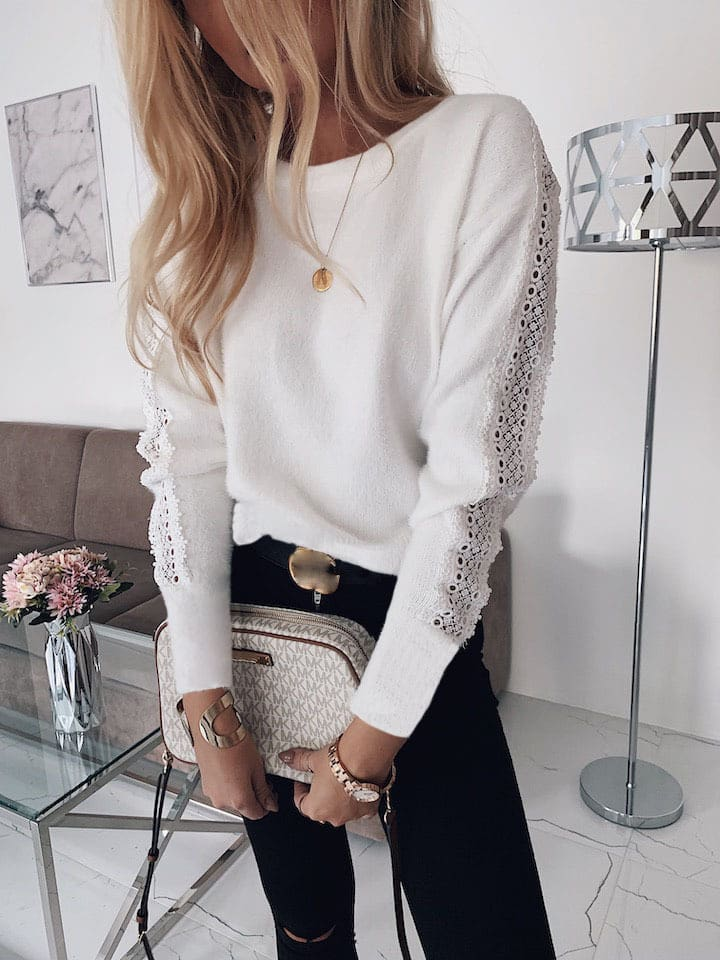 Women Lace Bandage Tops Ladies Long Sleeve Round Neck Backless Blouse Pullover Loose Shirt