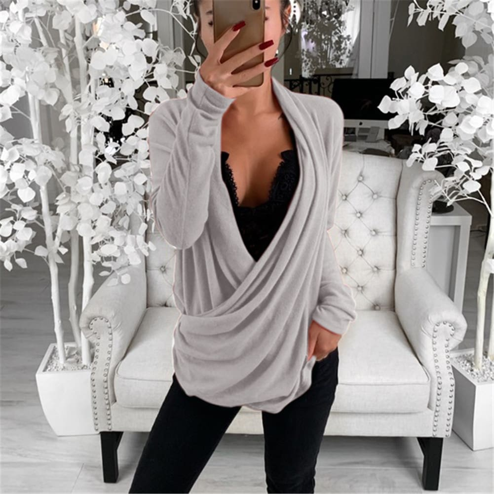 Autumn Womens Casual Pullover Jumper Autumn Loose Long Sleeve Pleated Wrap Top Shirt Tunic Solid Blouse New
