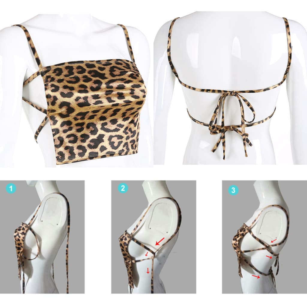2019 New Fashion Leopard Printed Summer Crop Top Women Sleeveless Bandage Camis Sexy Backless Bandage Slim Tops Club Wear
