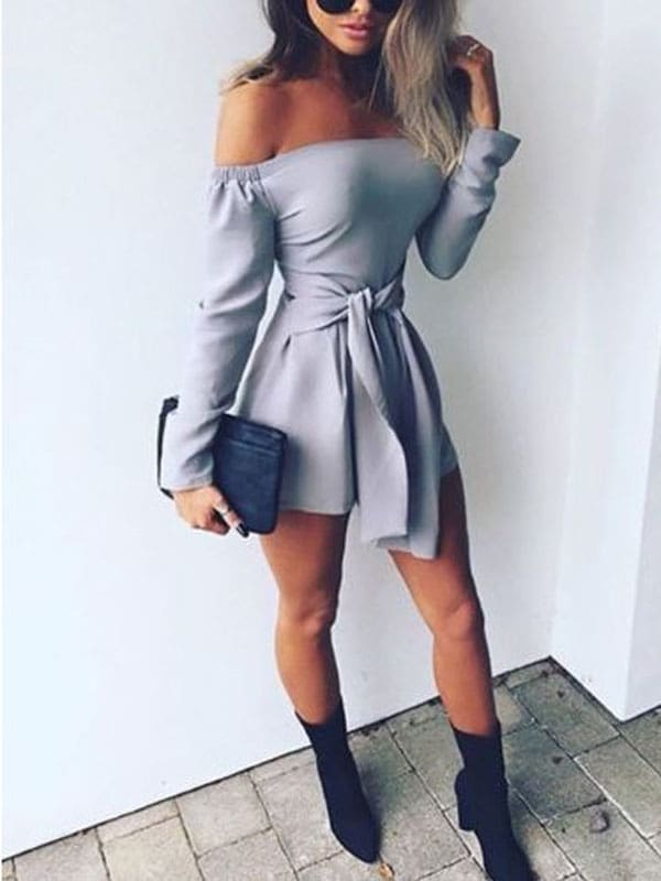 2019 Fashion Women Holiday Clubwear Summer Short Trousers Jumpsuit Romper Solid Off Shoulder Slim Fit Playsuit