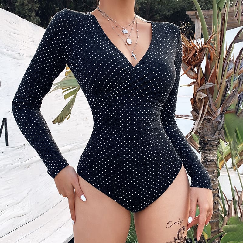 Women Polka Dot V Neck Long Sleeve Bodysuit Stretch Leotard Tops