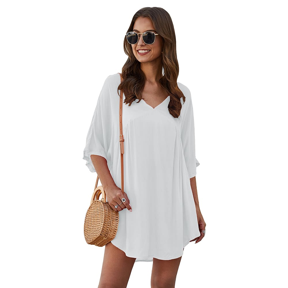 Short Sleeve Tunic Top Pullover Ladies Casual Solid Loose Jumper Blouse Tee Shirt