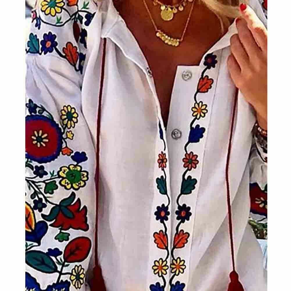 2019 Autumn Womens Tops Shirt Long Sleeve Loose Casual V-neck Floral Print T-Shirts Beach Holiday Streetwear