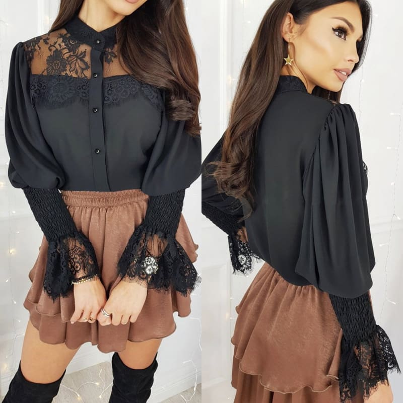 Women Tops Shirts Lace Up Flare Sleeve T-Shirt Summer Solid Long Sleeve OL Blouse