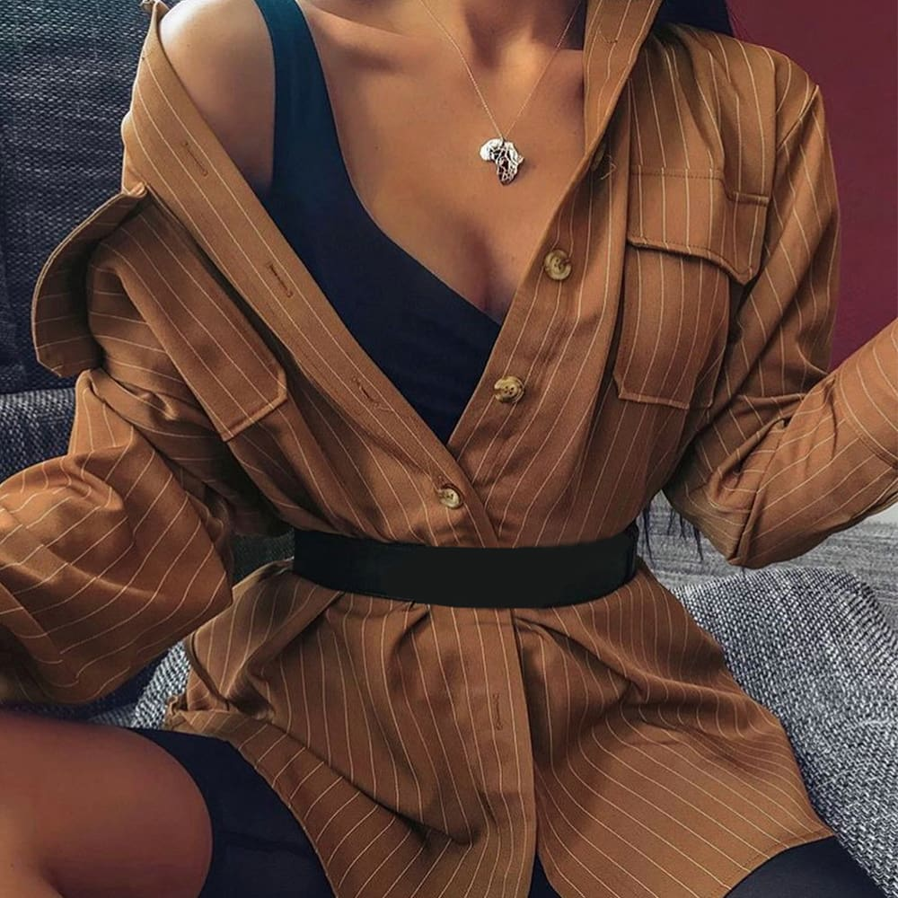 2019 Fashion Women Long Sleeve Striped Shirt Button Down OL Ladies Office Work Casual Loose Blouse Tops