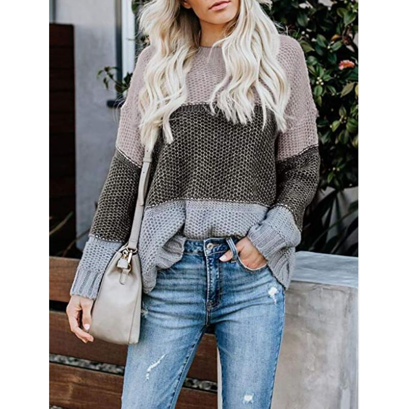 Casual Knitted Color Block Sweater Women Jumper Loose Colorful Striped Sweaters Pullovers Winter Fluffy Sweater
