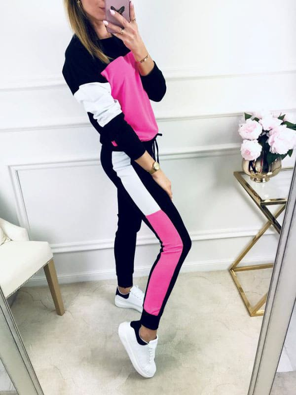 2019 Autumn Casual Womens Sport Hoodies Sweatshirt Tops + Long Pants Set 2Pcs Tracksuit Fitness Sweat Suit Sportwear
