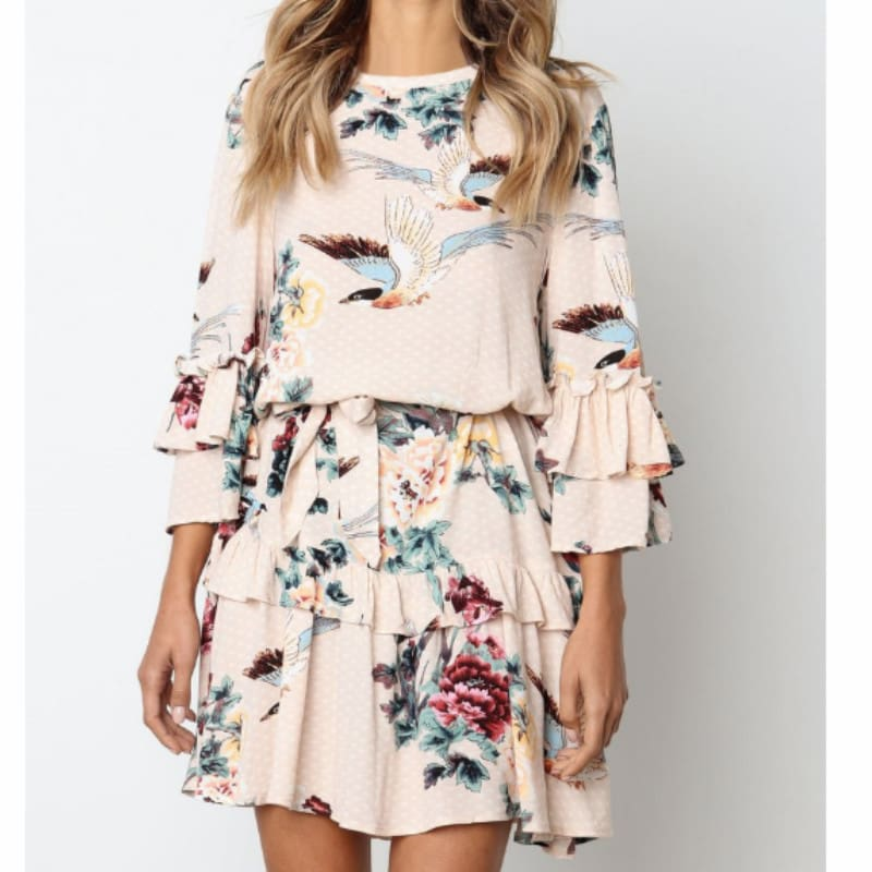 Women Autumn Spring Elegant Vintage Floral Ruffles Mini Dress Chsinese Printed Casual Dress