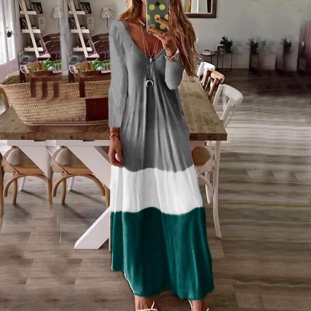 2019 New Summer Autumn Women Boho V-Neck Splice Long Party Maxi Dress Ladies Casual V neck Kaftan Beach Dress Sundress