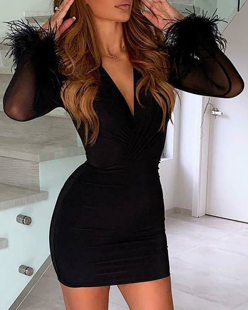 Women Mesh Long Sleeve V-Neck Bodycon Dress Ladies Evening Party Clubwear Mini Pencil Dress