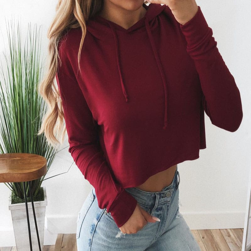 Autumn Winter Women Long Sleeve Hoodie Sweatshirt Ladies Casual Jumper Hooded Pullover Loose Crop Tops Blouse