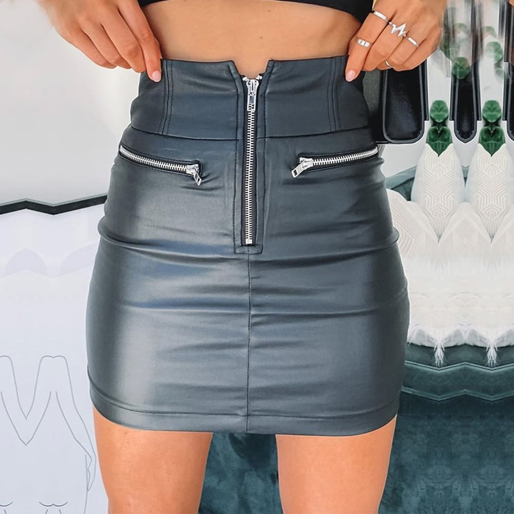 Women High Waist PU Leather Bodycon Mini Skirt Ladies Evening Party Zipper Skirt