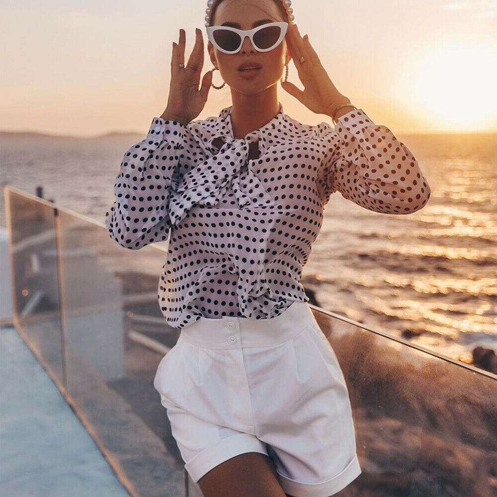 Elegant Women Lady Formal Long Sleeve Shirt Chiffon Blouse Tie Polka Dot Tops Casual Office Work Tee Shirt