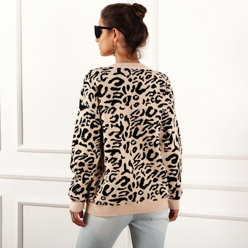 Womens Autumn Winter Sweater Long Sleeve Leopard Print Ladies Girl Knitted Jumper Pullover Tops Sweaters Streetwear