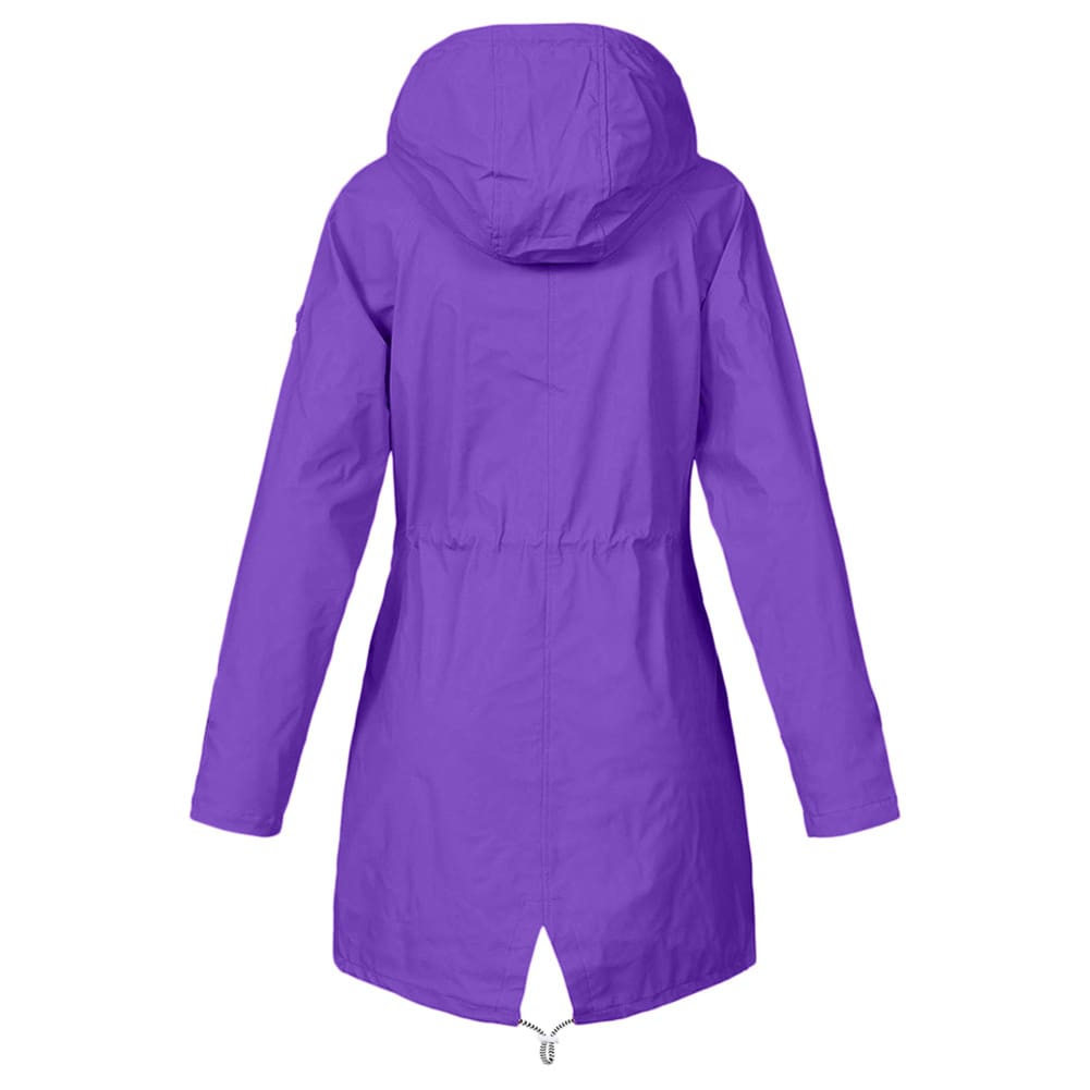 Women Hooded Coat Windproof Rain Coat Parka Zip Jacket