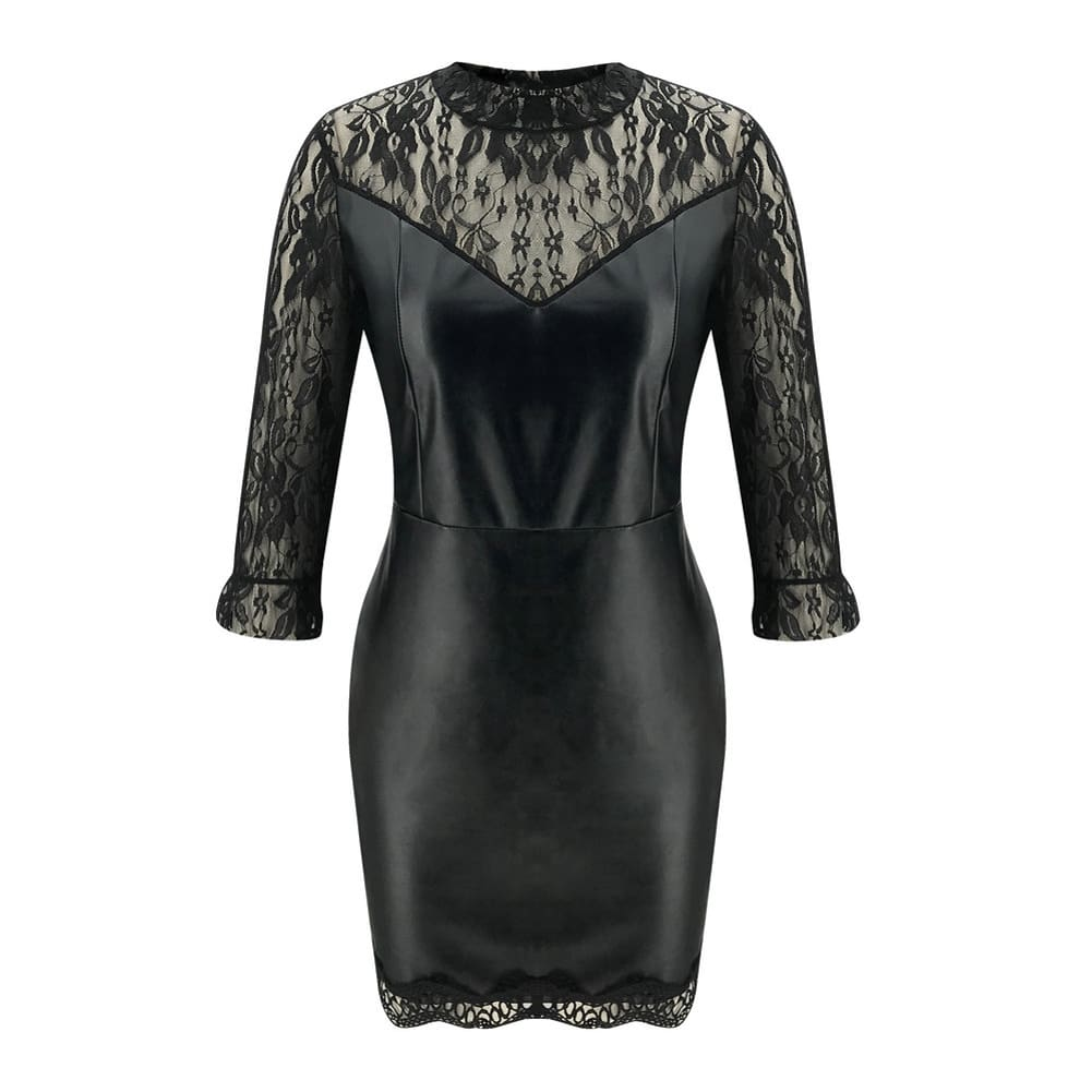 Lace Long Sleeve Bodycon Mini Dress OL Ladies Casual Office Workout Dresses