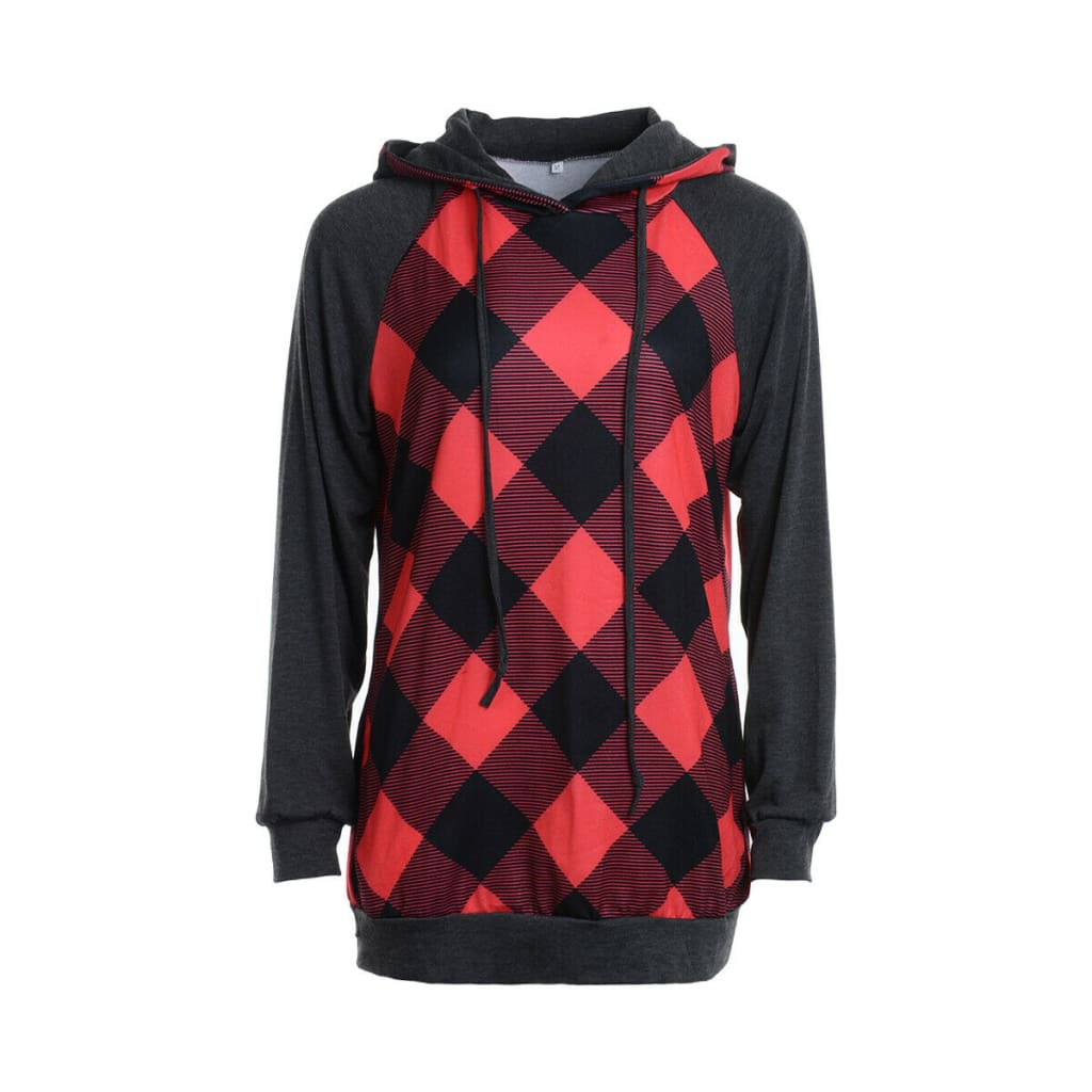 2019 New Fashion Womens Hoodie Sweatshirt Jumper Sweatshirt Casual Crop top Pullover Plaid Long Sleeve Blouse Top