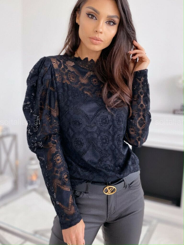 Fashion Womens Casual Hollow Lace Tops Tee Sexy Ladies Long Sleeve Turtleneck Loose OL Blouse Shirt Pullover