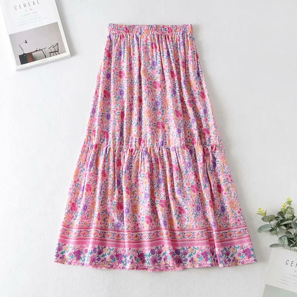 Floral Printed Vintage Skirt Elastic High Waist Beach Skirts Casual Ladies Boho Skirts