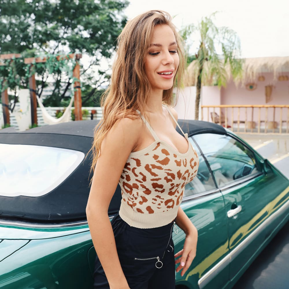 Women Ladies Summer Leopard Bustier Crop Top Vest Sleeveless Blouse Casual Tank Tops T-Shirt