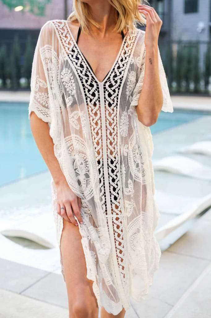 Ladies Women Lace Crochet Bikini Cover Up Swimwear Bathing Suit Summer Beach Mini Dress Swimwear