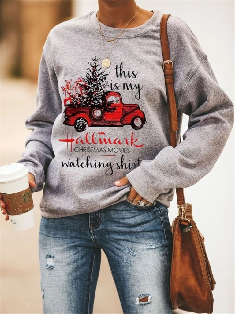 Fashion Sweatshirts Women Ladies Long Sleeve Pullover Tops Autumn Casual Crew Neck Christmas Tree Sports Tops