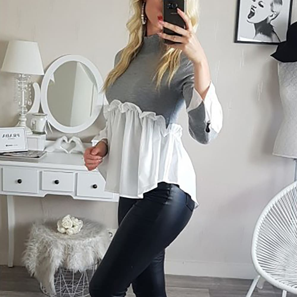 Fashion Women Crew Neck Long Sleeve Tops Autumn Ladies Casual Ruffle Hem T Shirt Pullover Tops weater Jumper