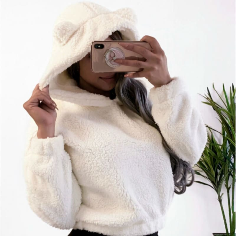Fashion Women Autumn Fleece Sweatshirt Casual Hooded Long Sleeve Pullover Warm Hoodies Jumper