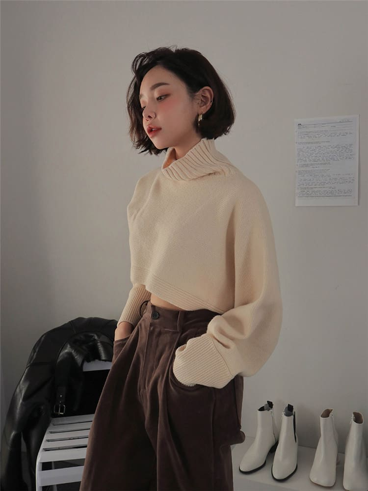 Retro Turtleneck Women Sweater Long Sleeve High Waist Knitted Pullover