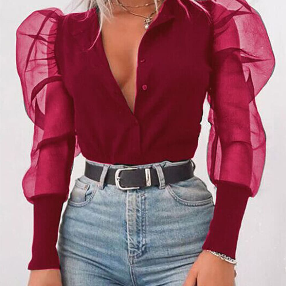 Womens V-Neck Shirt Tulle Ruffle Long Puff Sleeve Shirt Solid Lady ShirtsTops
