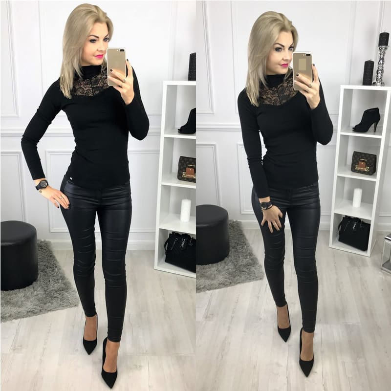 Lady Women Lace Hollow Out Stand Collar Slim Fit Comfortable Bassic Shirt Top Long Sleeve Casual Tops