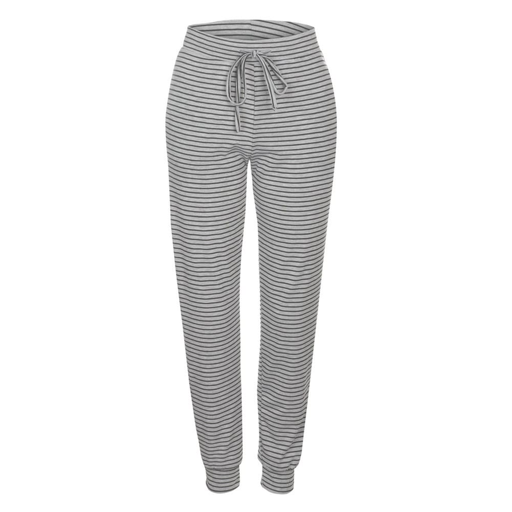 Fashion Women Casual Sweatpants Stripes Drawstring Loose Jogger Dance Harem Pants Sports Baggy Slacks Trousers