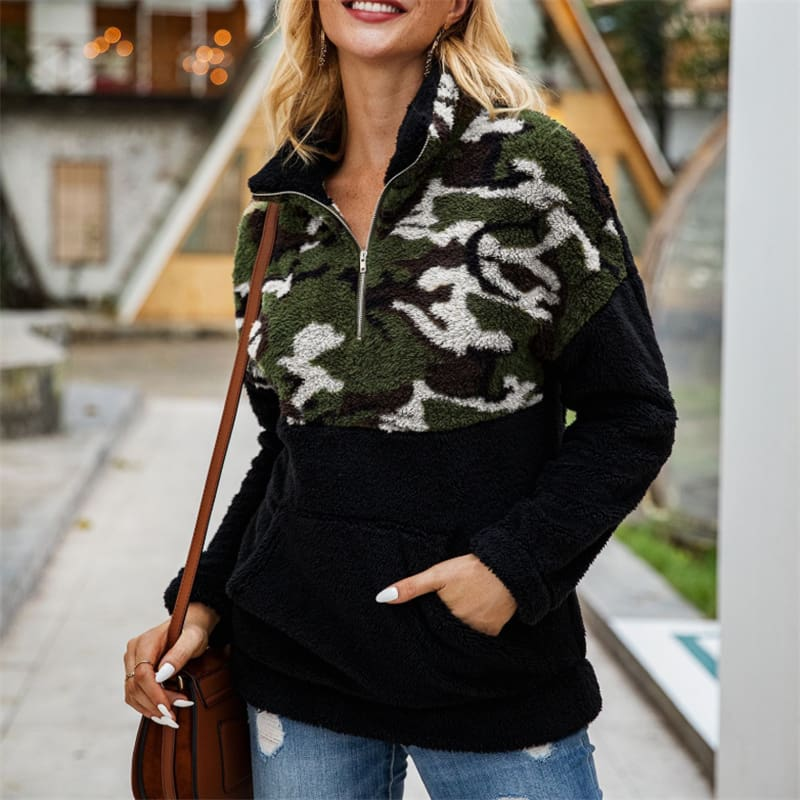 3 Color Fleece Sweater Fashion Camo Patchwork Fluffy Thick Sweaters Warm Zipper Pullovers Women Winter Clothes Coat Sherpa Tops