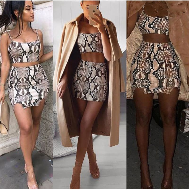 Fashion Ladies Snake Print Two Piece Set Streetwear Women Summer Sleeveless Bandage Crop Top Skirt set Party Club Outfit Set