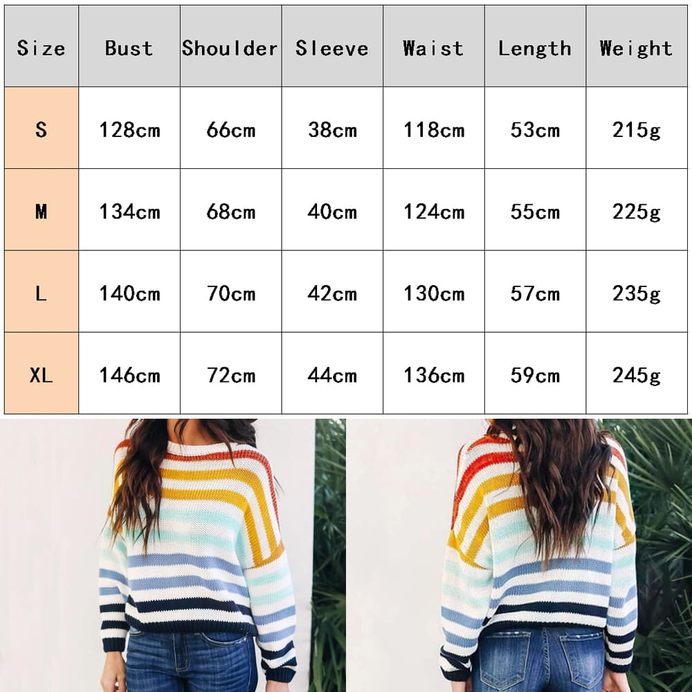Fashion Women Girls Autumn Loose Knitting Rainbow Sweater Pullover Jumper O Neck Long Sleeve Casual Tops 2019 New