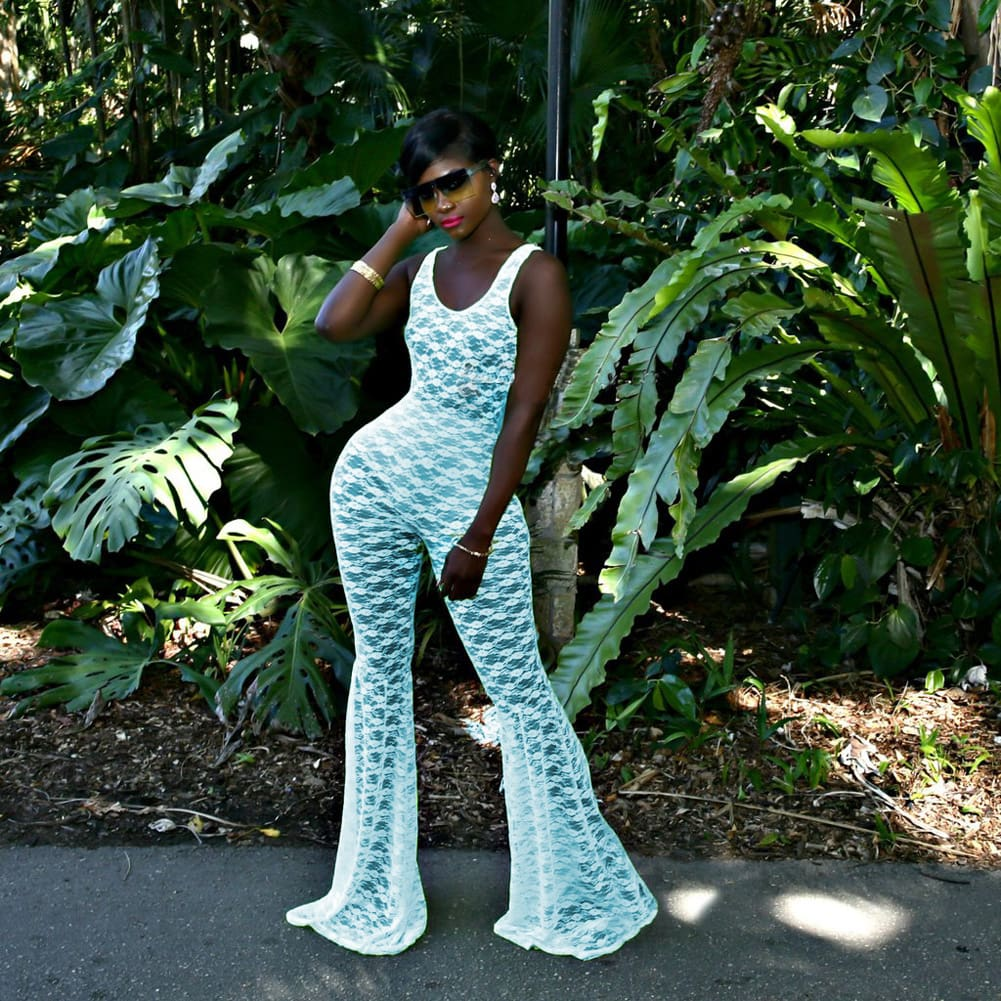 Women See Through Sheer Lace Bodycon Jumpsuit Rompers Cover Up Bell-bottoms Legging Pant Clubwear Overalls